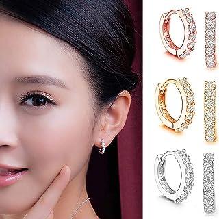 1 Pair Women Men Stud Earrings for Girls Fashion Jewelry Small 5A Cubic Zirconia Halo Stud Drop Earrings, Hypoallergenic S...