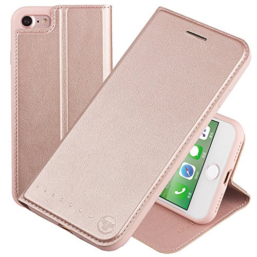 Nouske iPhone 7 iPhone 8 4.7 Zoll Stand Hülle Etui with Karte Halterung Leder Wallet Klapphülle Flip Book Case TPU Cover Bumper Tasche Ultra Slim, Rose Gold