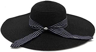Sun Hat Holiday Women Straw Hat Big Beach Hat Sunscreen Easy to Carry Fashion Shade` TuanTuan (Color : Black, Size : 56-58CM)