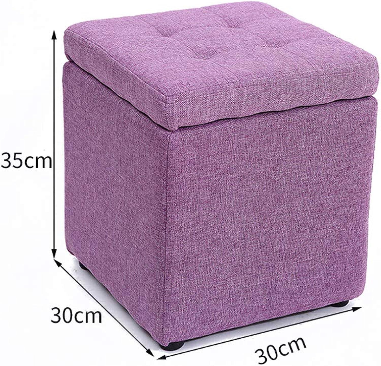 MXD Stool Creative Multifunctional Storage Stool Fashion Living Room Sofa Stool (color   Purple)