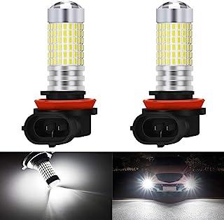 KaTur H8 H9 H11 LED Fog Light Bulbs Max 80W Super Bright 3000 Lumens 6500K Xenon White with Projector for Driving Daytime Running Lights DRL or Fog Lights,12V -24V (Pack of 2)