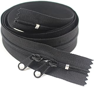 Meillia 2PCS 40 Inch #3 Double Slider Zippers Black Closed End Nylon Coil Zippers for Sewing, Purses, Bags, Handbags, Totes, Pillowcases, Bed Sacks (40