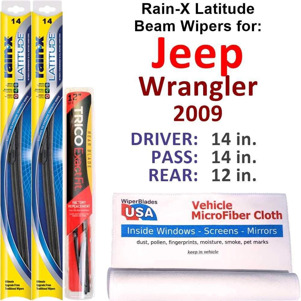 Product Rain-X Latitude Max 43% OFF Beam Wipers for 2009 Rear Jeep w Ra Wrangler Set