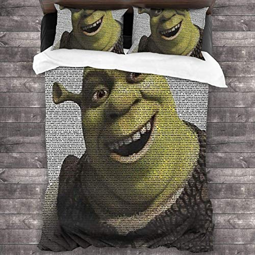 DJNGN Shrek Movie Script Payulek 3 Piece BEdding Set 86'X70' One Size