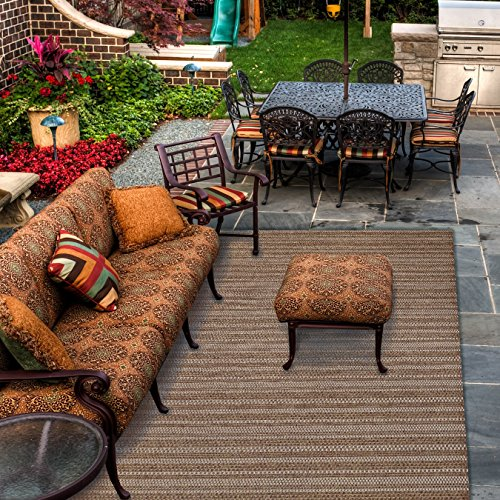 Gertmenian Brown Jordan Prime Label Outdoor Furniture Rug 8x10 Barnwell Collection Sisal Woven Modern Patio Rugs, Raven Dot Brown