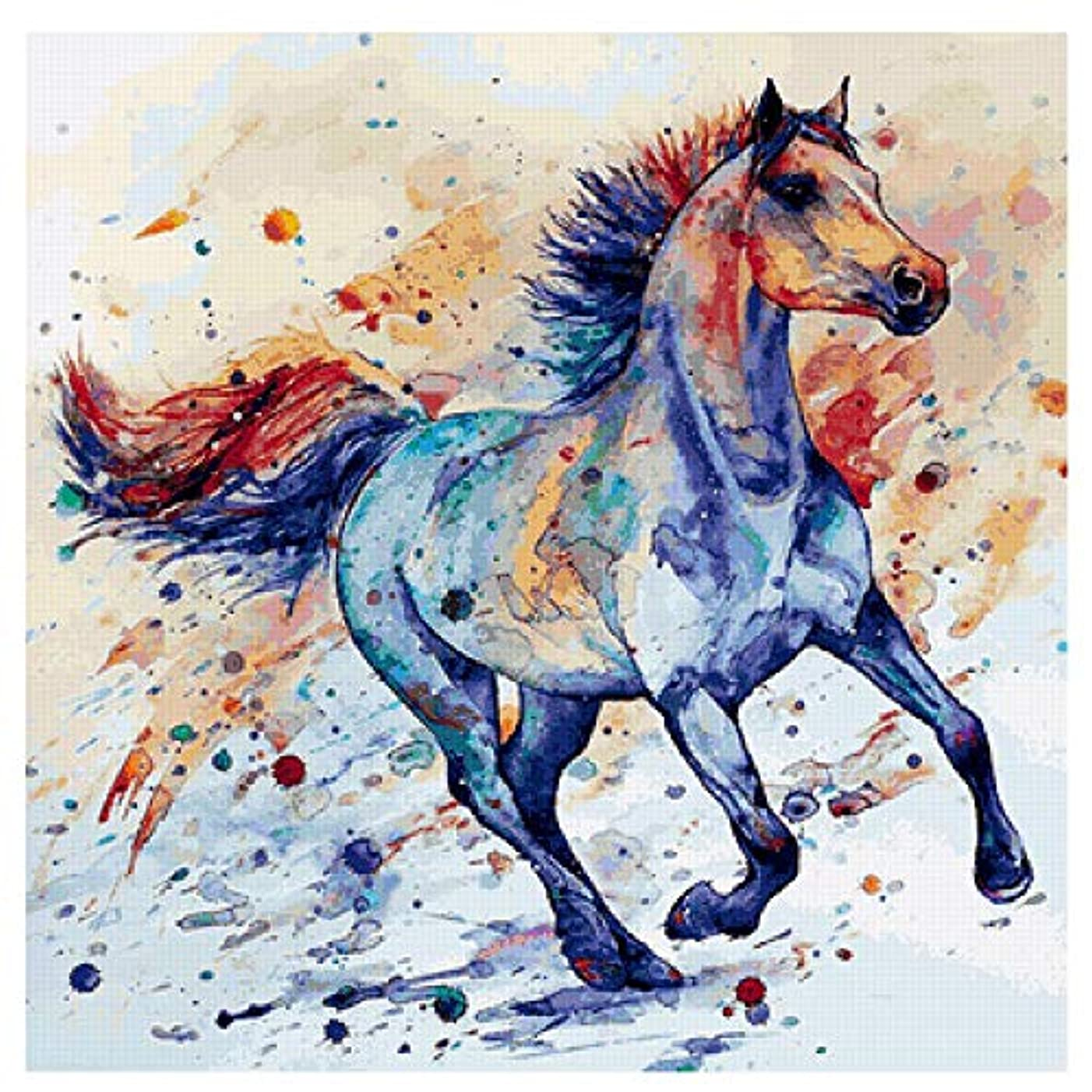 Twuky DIY 5D Diamond Painting by Number Kits, Crystal Rhinestone Diamond Embroidery Paintings Pictures Arts Craft for Home Wall Decor, Full Drill,Horse(12X12inch/30X30CM)