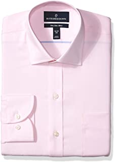 Amazon Brand - BUTTONED DOWN Men's Slim Fit Spread-Collar Solid Pinpoint Dress Shirt, Supima Cotton Non-Iron