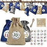 AJAMQ 24 Piezas Calendario De Adviento Bolsa De Regalo Navidad Bolsas De Yute para Rellenar con 24 Pegatinas Y 24 Etiquetas, Decoración Navideña para El Hogar