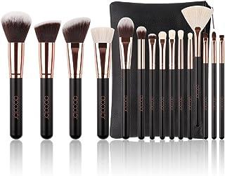 Docolor 15Pcs Makeup Brush Set Natural Goat Hair with Bag