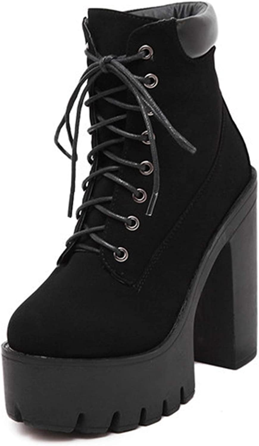 Ankle Boots Women Lace Up Thick Heel Platform Boots Ladies Worker Boots Black 42