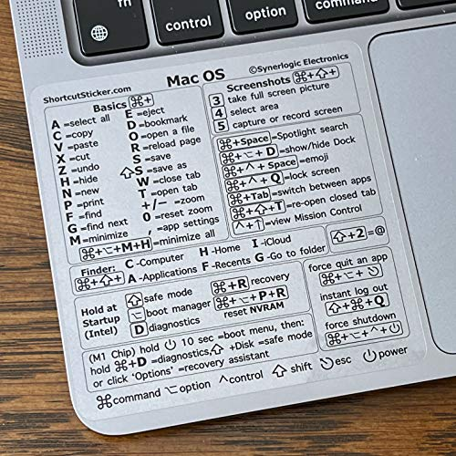 """SYNERLOGIC Mac OS (Big Sur/Catalina/Mojave) Keyboard Shortcuts, Clear Vinyl Sticker, No-Residue Adhesive, Size 3.25""""x 3.25"""", Compatible with 13-16-inch MacBook Air Pro with M1 or Intel CPU"""
