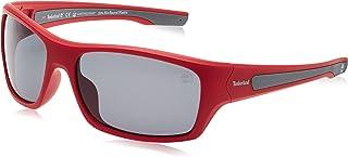 نظارات شمسية للرجال من تيمبرلاند TB919266D65 - بلون احمر لامع / رمادي داكن وعدسات مستقطبة - مصنوعة بتقنية الحقن