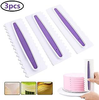Cake Scraper Set of 3, SS&CC Icing Smoother Comb Tool Set, Plastic Cake Scraper 6 Design Textures Fondant Spatulas Baking Tools