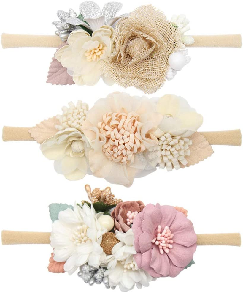TomaiBaby - Lote de 3 bandas elásticas para el pelo, diseño de flores, encantadoras, accesorios de fotos para niña recién nacida