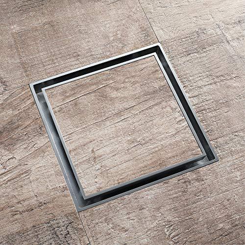 BIDET Fußbodenablauf aus reinem Kupfer, quadratischer Fußbodenablauf aus Chrom, herausnehmbar und leicht zu reinigen (150 x 150 mm)