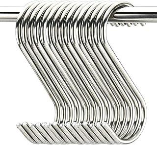 "20 Pack 3.5"" Hooks S Shaped Hanging Hooks Stainless Steel Metal Hangers Hanging Hooks Kitchen,Closet,Bathroom,Work Shop,Ga..."
