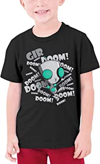 LUCY FOSTER Youth Junior Vintage Invader Zim Gir Short Sleeve T Shirts Black