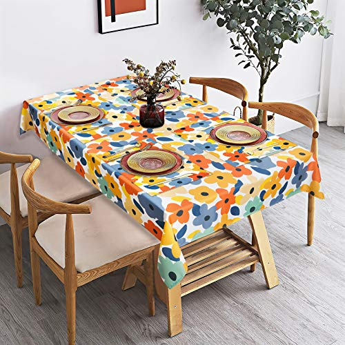 Floral Tablecloth and Placemats Set, Spring Summer Watercolor Flowers Table Cloth and Placemats Set of 4 for Rectangle Tables, Waterproof Tablecloth for Kitchen Dining Room Picnic Outdoor Indoor
