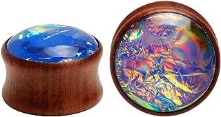 KUBOOZ Sea Shell Center Wooden Ear Plugs Tunnels Gauges Stretcher Piercings Jewelry