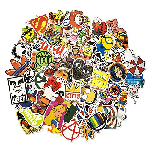 100 Aufkleber/Sticker - Retro-, Graffiti- Style, Reisen, Marken für Skateboard, Snowboard, Koffer, Notebook, Auto, Fahrrad & UVM. - Auto-Dress® (Set-6)