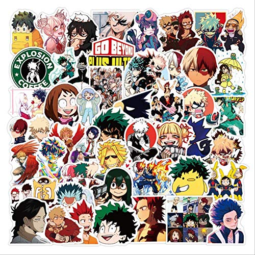 100 pegatinas My Hero Academy para maletas, portátiles, monopatines, neveras, teléfonos móviles, anime, pegatinas, Boku No Hero Academia, 100 unidades