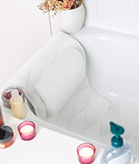 Full Body Bath Pillows for Tub: Padded Bathtub Pillows for Head and Back Support. This Long White Bath Cushion for Tub is Ideal as a Bubble Bath Tub Pillow Rest. Bathtub Accessories Relaxation Gifts