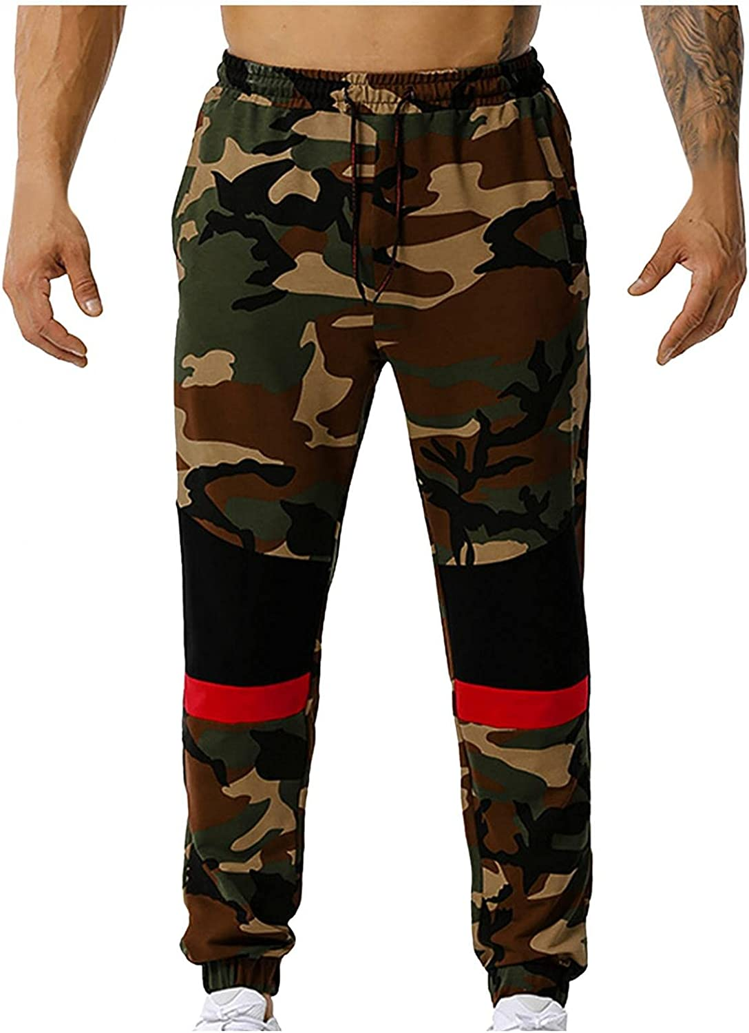 Beshion Sweatpants for Men Camouflage Jogger Gym Workout Running Pants Casual Slim Athletic Sports Trousers with Pocket