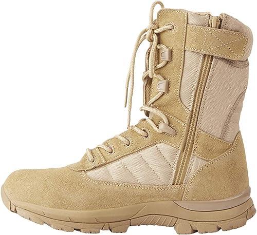 NDHSH Bottes Tactiques pour Hommes Bottes de de randonnée Estivale Bottes Montantes Chaussures à Lacets Forces spéciales Bottes de Travail Bottes de sécurité Bottes de sécurité,Beige-39  économiser jusqu'à 50%