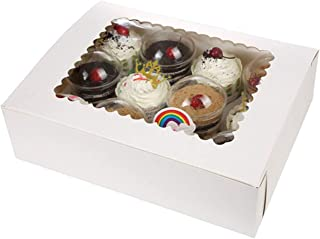 Bakery Boxes for Cupcakes with Display Window and Cupcake Inserts 12 Pack. Each Recyclable, Bright White Box Displays 1 Dozen Cup Cakes (case of 12)