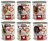 24 x 800 g (6 pollos, 6 pollos, 6 corderos, 6 salvajes) paquete mixto Bewi Dog.