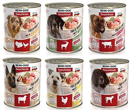 24 x 800g (6 x Rinderpansen, 6 x Huhn, 6 x Lamm, 6 x Wild) Mischpackung Bewi Dog Fleischkost