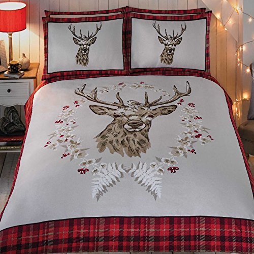 Just Contempo 100% Natural Brushed Cotton, Christmas Reindeer Bedding Set, King, Red Angus Stag