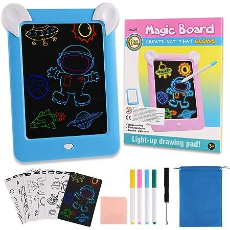 GOLDGE Tablero de Dibujo 3D Mágico, Pizarra Magnética Conjunto con Luces LED Educativo Infantil Dibujo, con Bolsas de Terciopelo, Azul