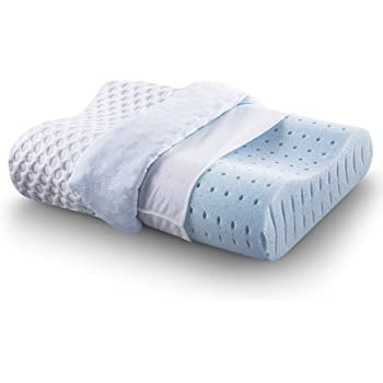 CR COMFORT & RELAX Ventilated Memory Foam Contour Pillow with AirCell Technology, Standard, 1-Pack, Blue