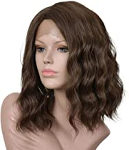 Annivia Dark Brown Lace Front Wig for Women Curly Wavy Shoulder Length Bob Brown Lace Front Wigs (12Inch Brown)