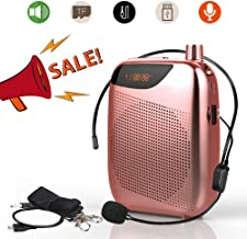 TSUN Portable Voice Amplifier,10W 1800mAh Mini PA Speaker System with Headset Microphone,Waistband and LED Display,Classroom Microphone for Teachers,Tour Guides,Meeting and Presentations(Pink)