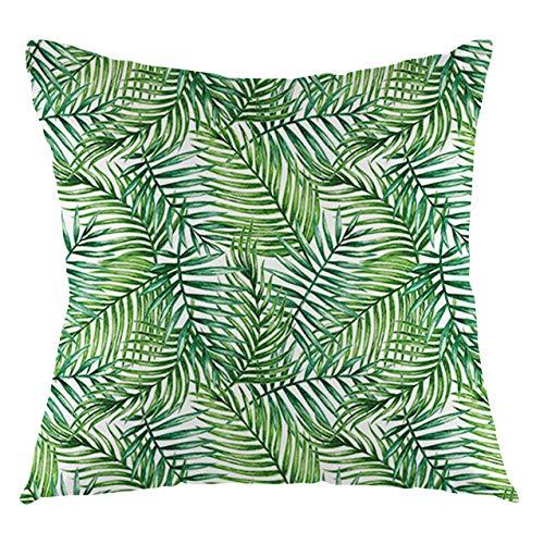 Funda de cojín con diseño de hojas con estampado de acuarela botánico de palmeras silvestres, hojas, diseño degradado, imagen decorativa cuadrada, 45,7 x 609,6 cm, verde oscuro y verde bosque