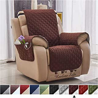Argstar Brown Recliner Cover for Dogs, Living Room Furniture Protector with Pockets