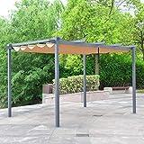 ALEKO Aluminum Outdoor Retractable Canopy Pergola - 13 x 10 Ft - Sand Color