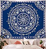 Blue Tapestry Wall Hanging Bohemian, Zodight Mandala Floral Medallion Hippie Tapestry with White Aesthetic Wreath Design, Wall Decor Blanket for Bedroom Home Dorm