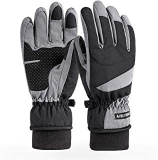Ski Gloves Warm Winter Riding Gloves, Touch-Screen Non-Slip Cycling Gloves, Men and Women Outdoor Waterproof Plus Velvet T...