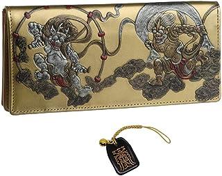風神雷神 長財布 メンズ ウォレット 和柄 和彫り 国宝 日本製 金運 根付 進呈