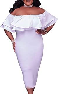 Women's Off Shoulder Ruffle Floral Print Plus Size Bodycon Party Dress