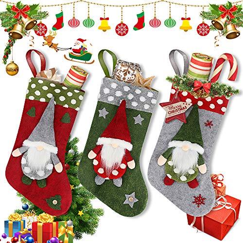 """Maxjaa Medias de Navidad, Juego de 3 Medias de Navidad Kit de 18""""Bolsa de Almacenamiento de Regalos Sin Rostro Patrón de Papá Noel Medias Decorativas para árboles de Navidad Fiestas Familiares"""