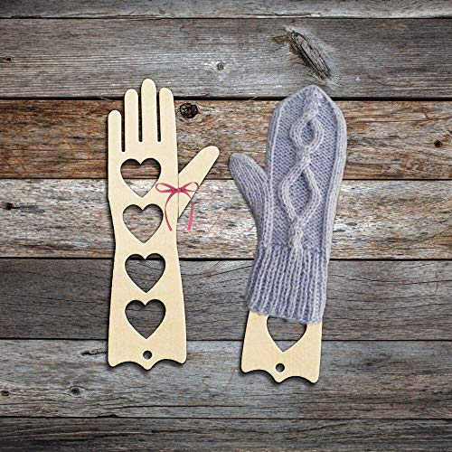 Wooden Mitten Blocker Knitting Form Blocking Gloves Knitters Gift Mother's Day Mom Happy Birthday Gift-Heart Design L