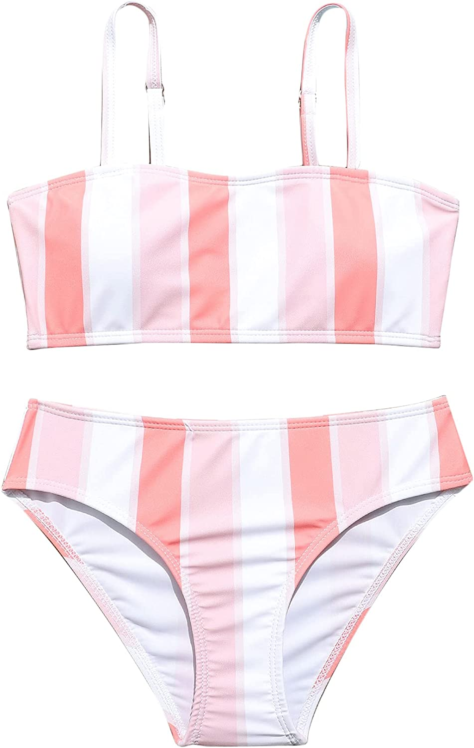 SOLY HUX Girl's Spaghetti Strap Bikini Bathing Suit Two Piece Swimsuits Striped Pink White 150