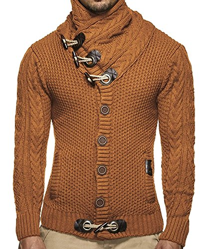 Mens Sweaters Turtleneck Cable Knit Button Down Cardigans Chunky Casual Fall Winter Jackets Coats Brown