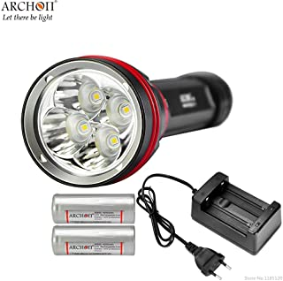 ARCHON DY02 WY08 Diving Flashlight 4 CREE XP-L LED max 4000 lumen Dive Torch 100 Meter underwater light with original batteries charger (cool white)