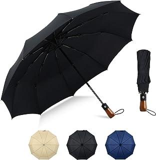 UONECH Travel Umbrella Windproof Folding Umbrella Portable Auto Open Close Umbrella with 10 Ribs(Black)