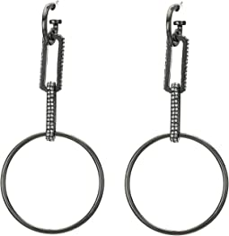 Rectangle Link and Round Circle Drop Earrings